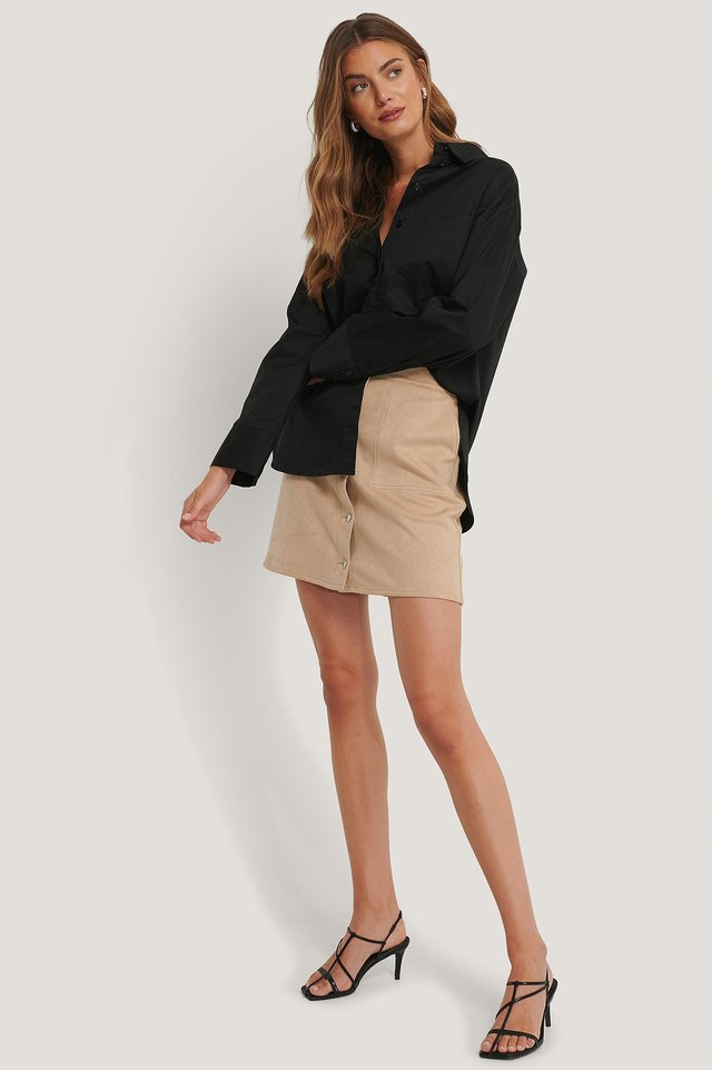 Suede Mini Buttoned Skirt Beige