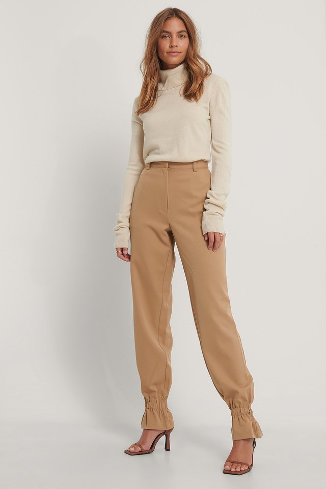 Suit Pants With Elastic Nougat
