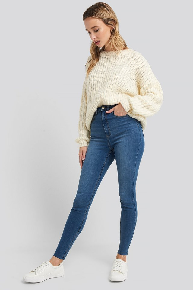 Mid Blue Super High Waist Skinny Jeans