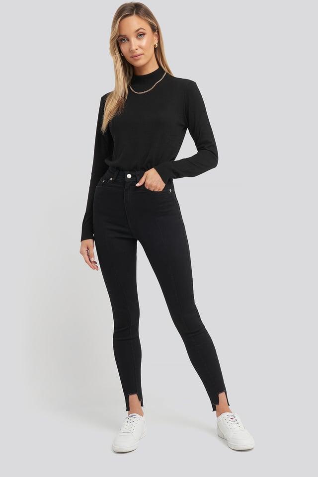 Super High Waist Asymmetrical Hem Jeans Black