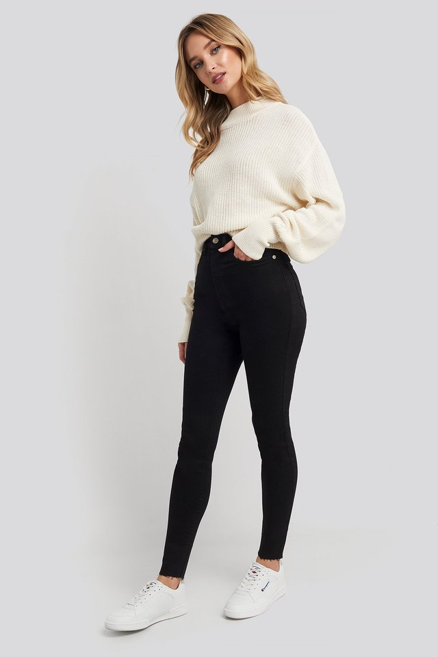 Super High Waist Skinny Jeans Black