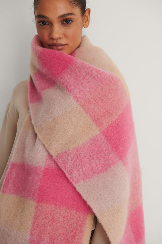 Pink Combo Super Soft Checked Tassel Scarf