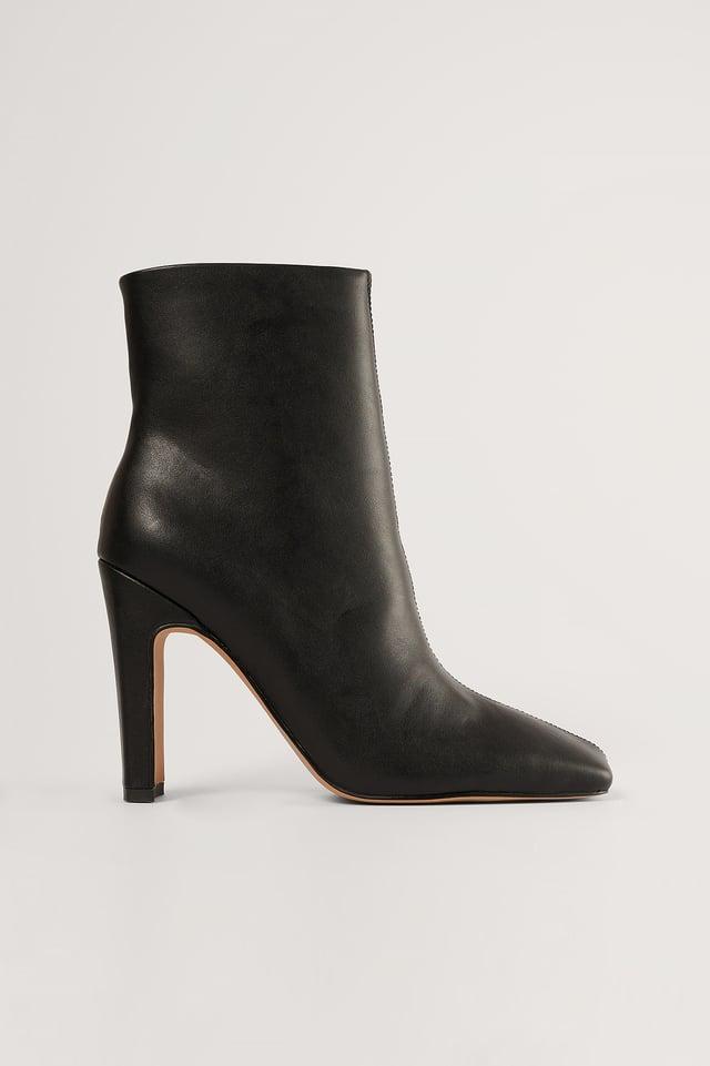 Black Super Square Ankle Boots