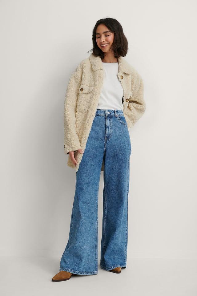 Mid Blue Genanvendte Super Bredbenede Jeans