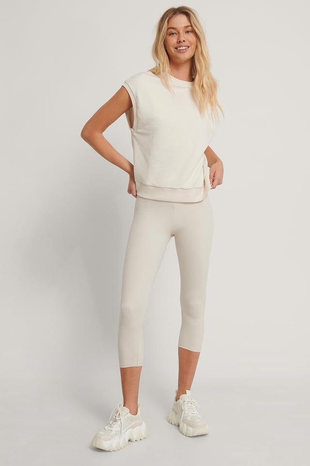 Organic Sweatshirt Vest Offwhite