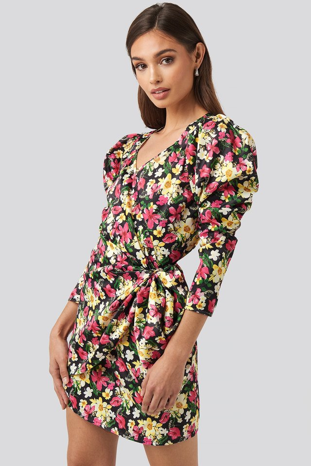 Sweetheart Neck Wrap Dress Floral Print