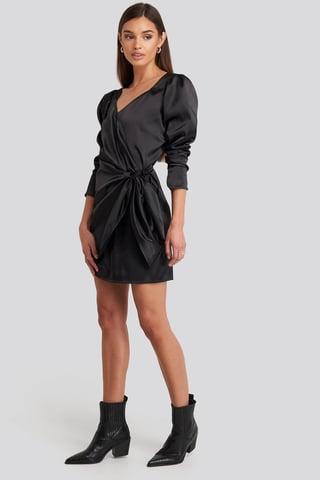 Deep Black Sweetheart Neck Wrap Dress