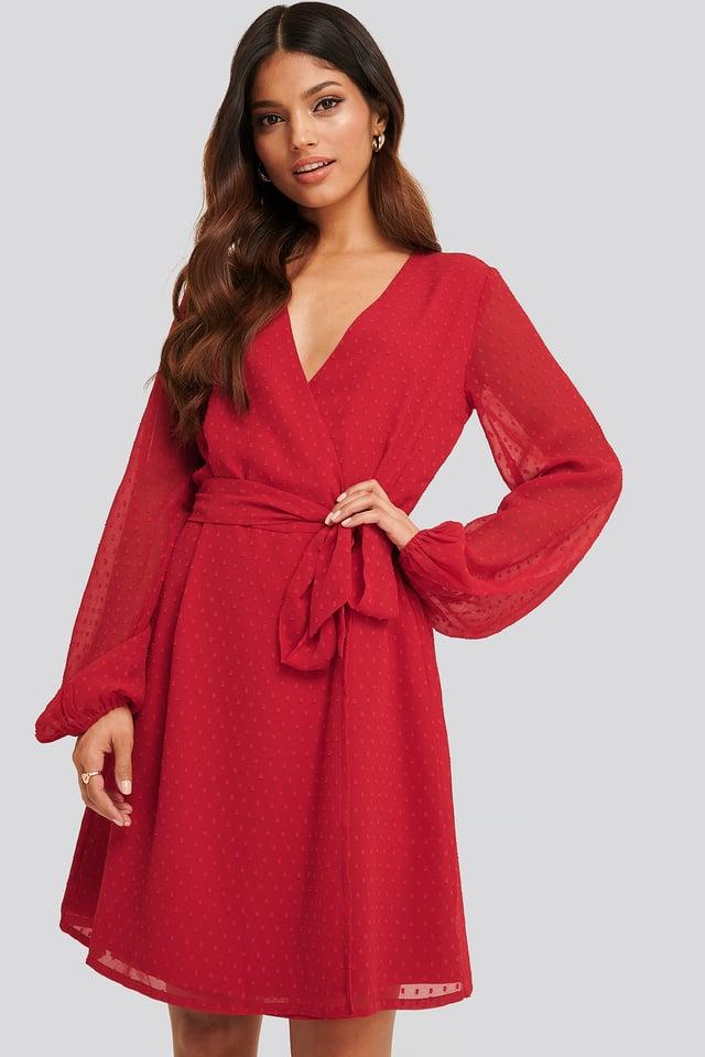 Swiss Dot Overlap Dress Red