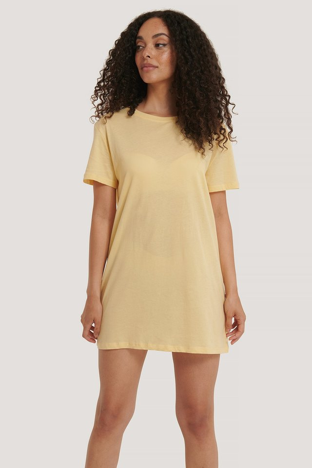 T-Shirt Dress Light Yellow