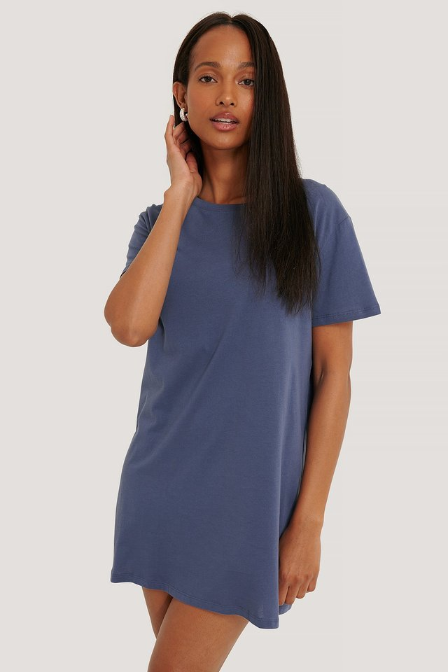 T-Shirt Dress Dusty Midnight Blue