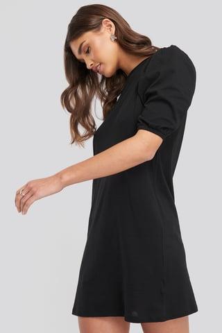 Black T-shirt Puff Sleeve Dress