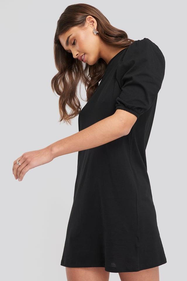 T-shirt Puff Sleeve Dress Black
