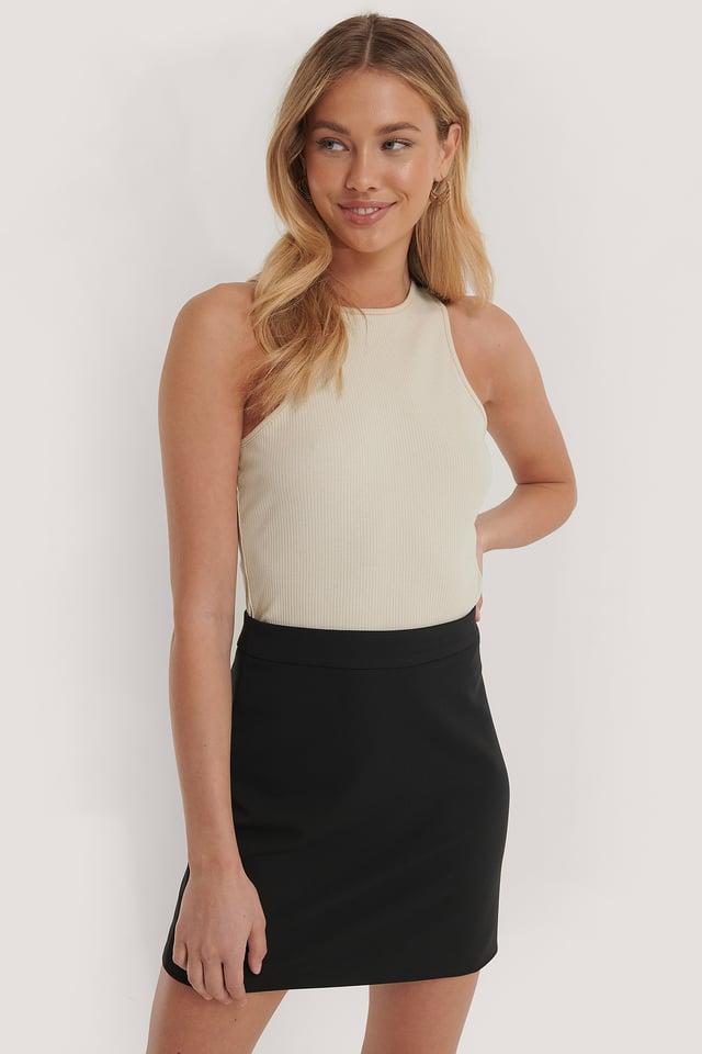 Tailored A-line Mini Skirt Black