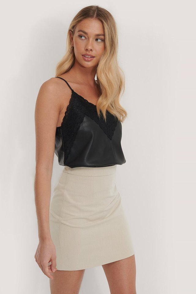 Tailored A-line Mini Skirt Sand