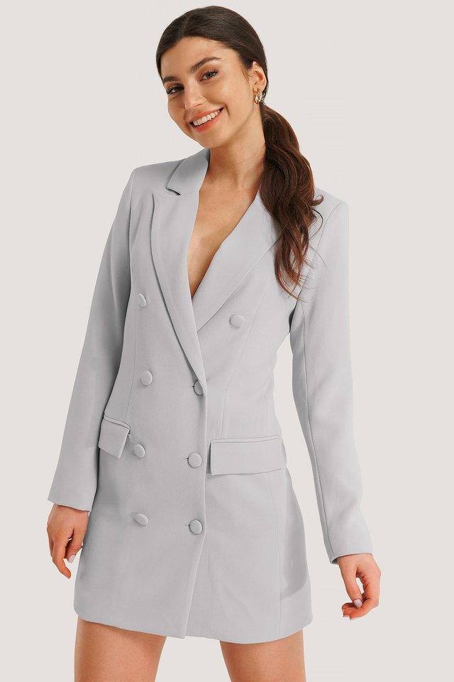 Dusty Blue Tailored Blazer Dress