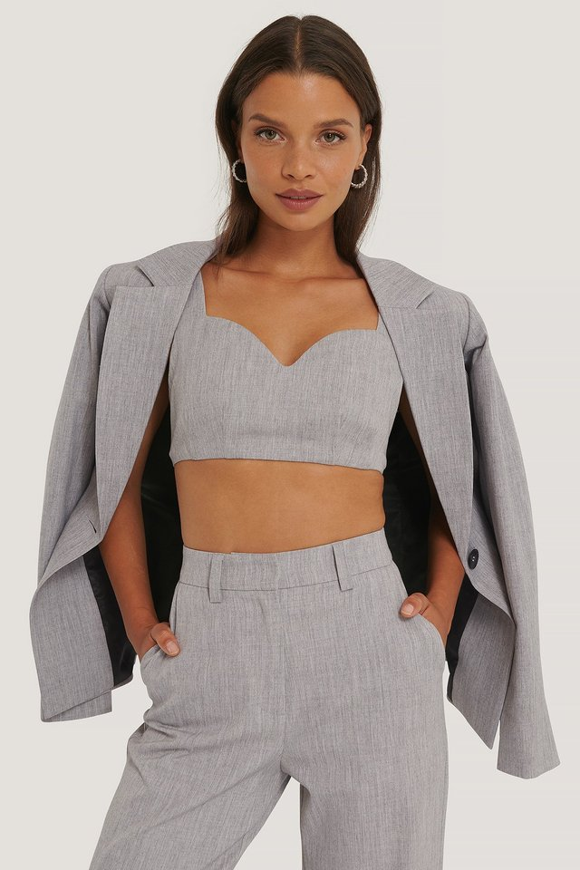 Tailored Bralette Light Grey