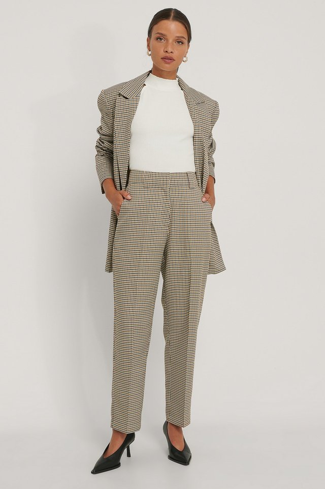 Tailored Cropped Pants Brown Check
