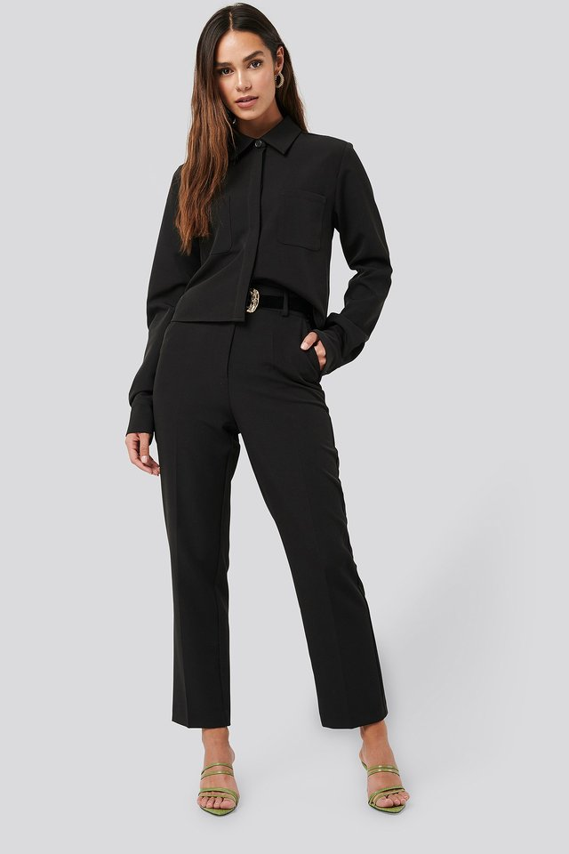 Black Tailored Cropped Suit Pants