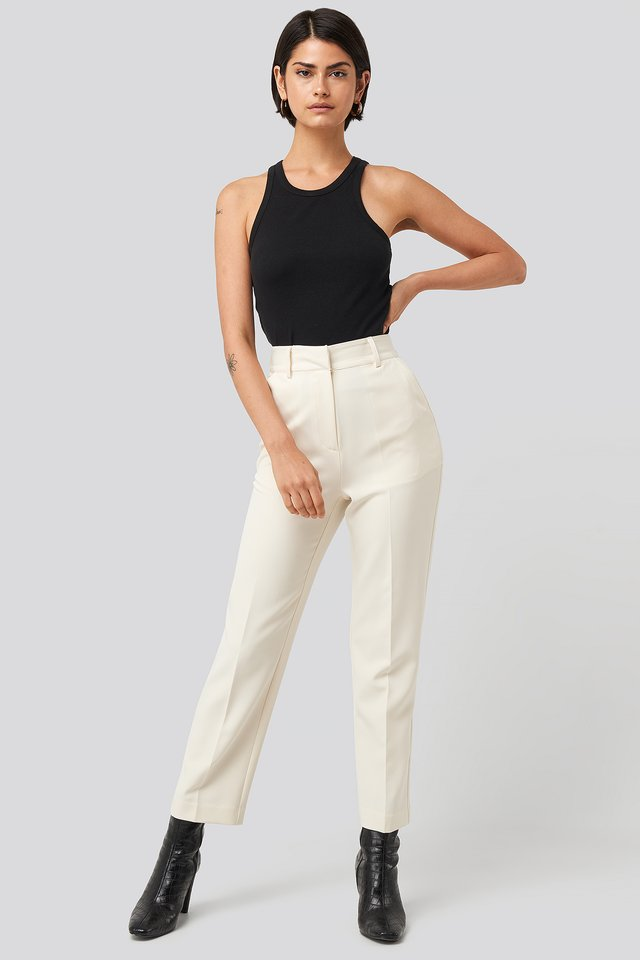 Cream Tailored Cropped Suit Pants