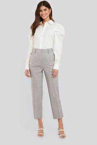 Grey Tailored Fitted Suit Pants