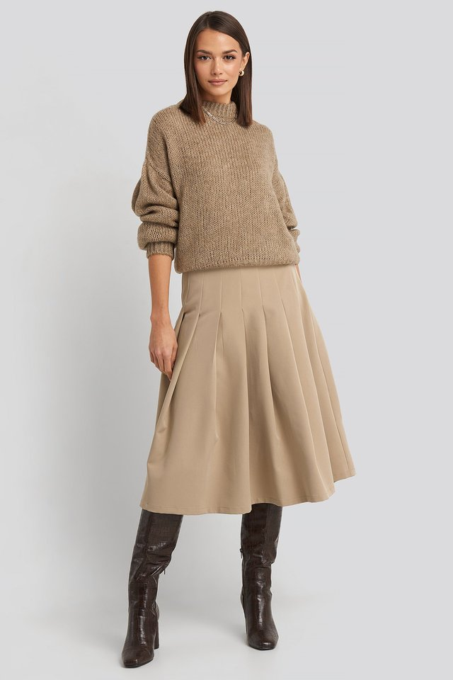 Tailored Pleated Midi Skirt Beige