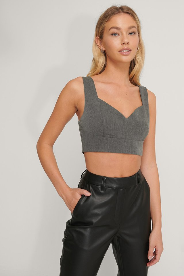 Dark Grey Tailored V-shape Cropped Top