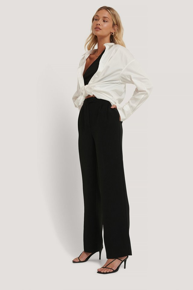 Tailored Wide Leg Trousers Black