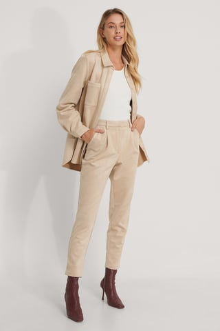 Beige Tapered Faux Suede Pants