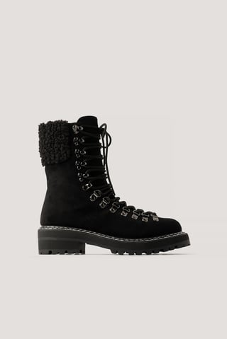Black Teddy Detailed Trekking Boots