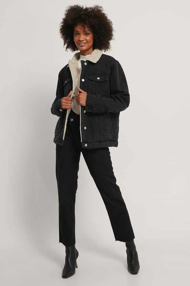 Teddy Fur Denim Jacket Black