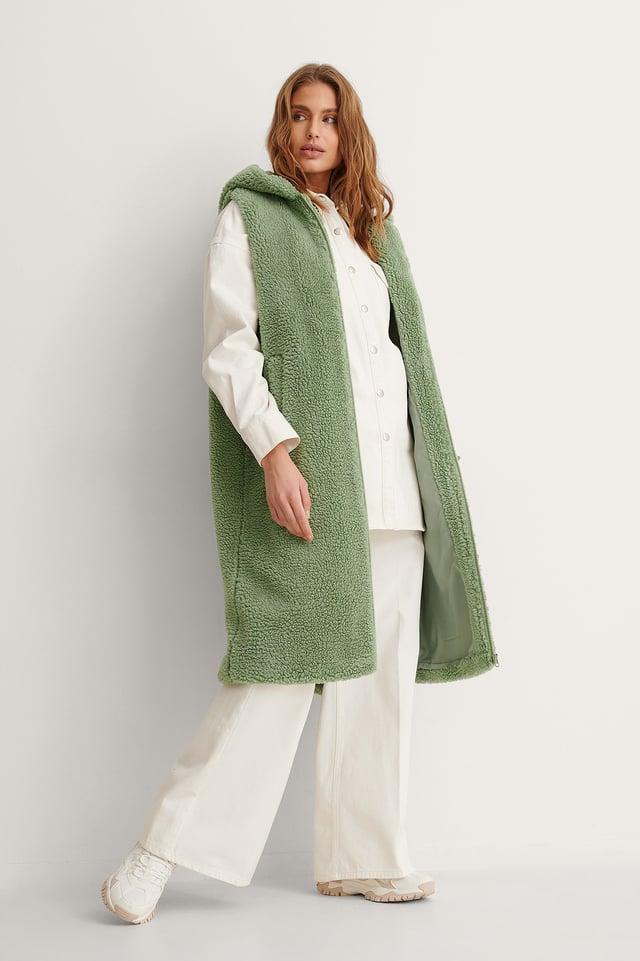 Green Long Teddy Vest