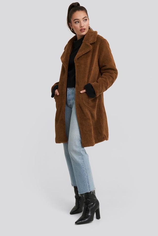 Teddy Midi Coat Brown