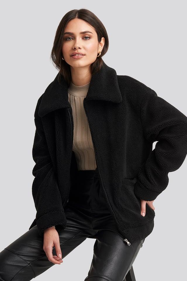 Teddy Zipper Jacket Black