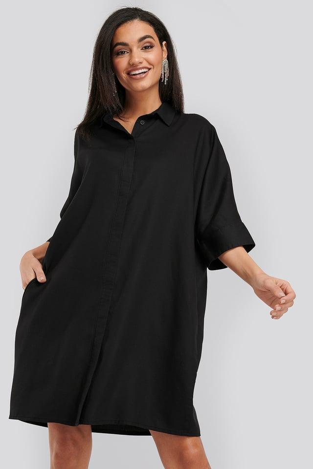 Tencel Boxy Short Sleeve Dress Black