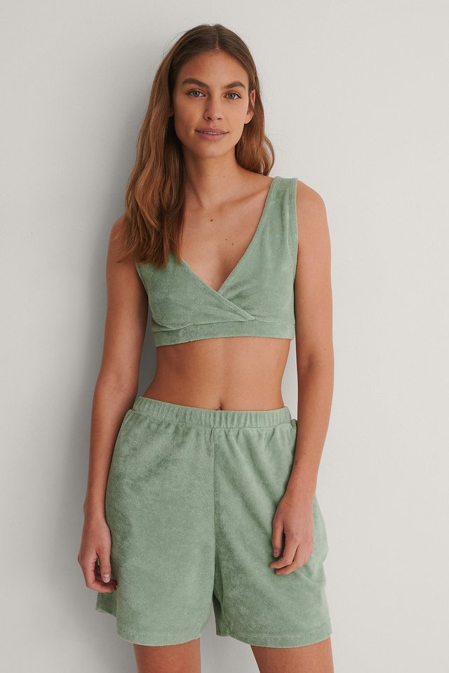 Green Organic Terry Cloth High Waist Shorts