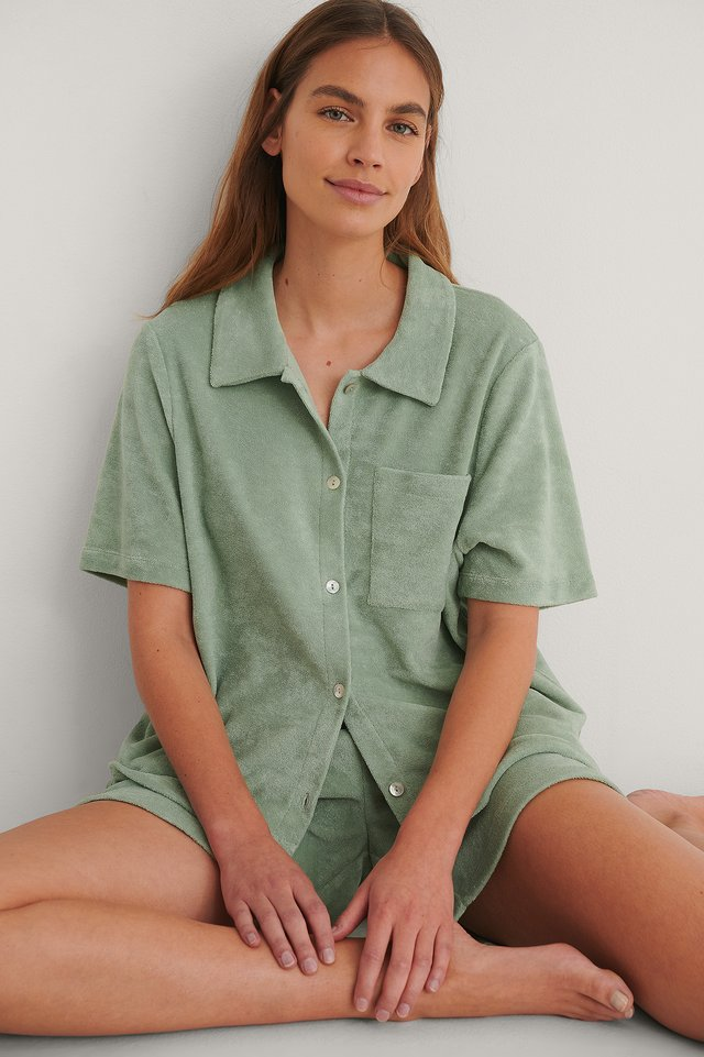 Green Terry Cloth Wide Shirt