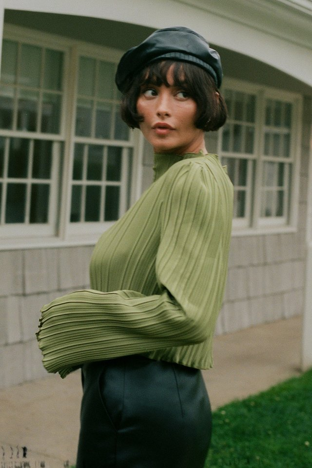 Green Textured Dropped Sleeve Top