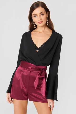 Burgundy Tie Waist Satin Shorts