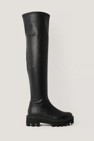 Black Lårhøje Støvler Med Profilsåle