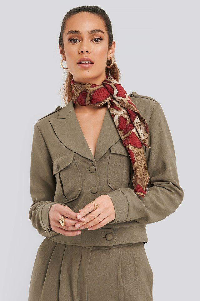 Red Thin Snake Print Scarf