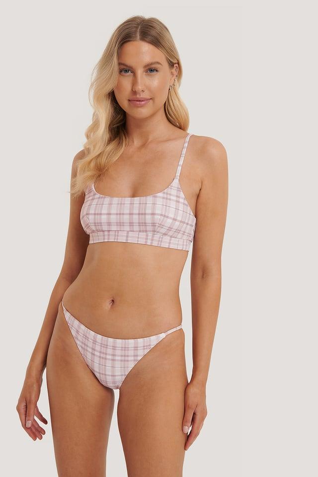 Thin Strap Bikini Briefs Pink Check