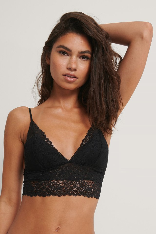 Thin Strap Bralette Black