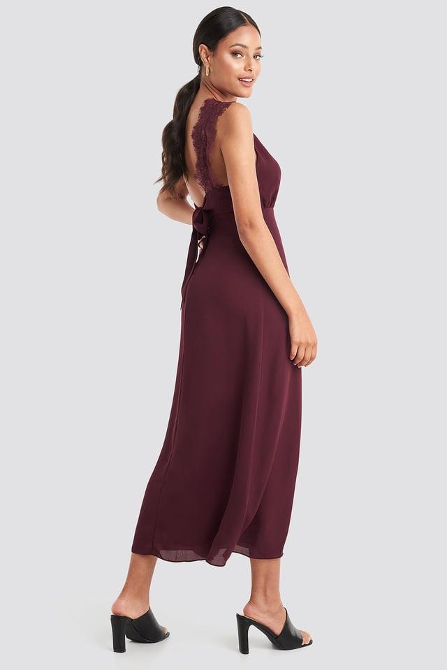 Burgundy Thin Strap Lace Back Dress