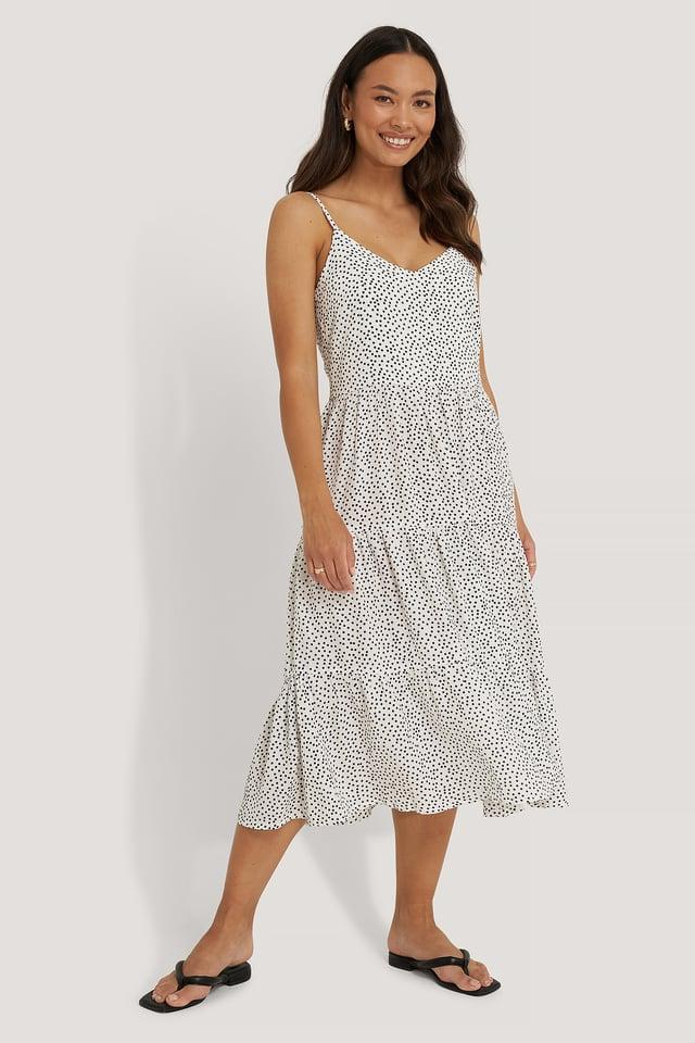 Vestido A Capas Con Tirantes Finos Dot Print