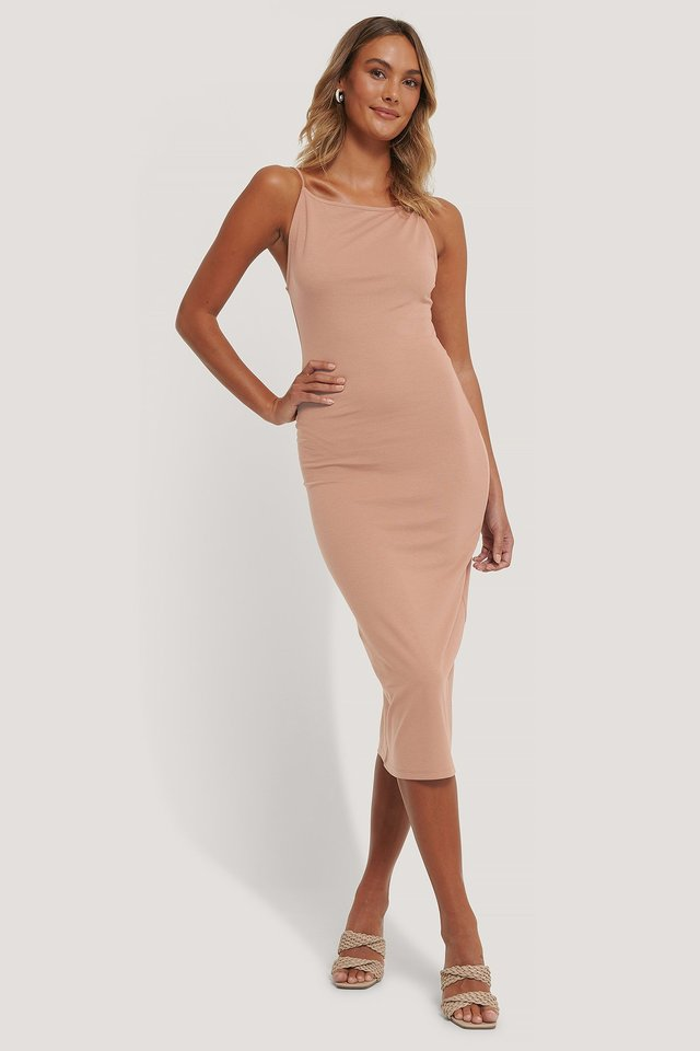 Thin Strap Midi Dress Brown