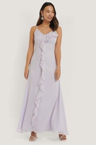 Purple Thin Strap Ruffle Detail Dress