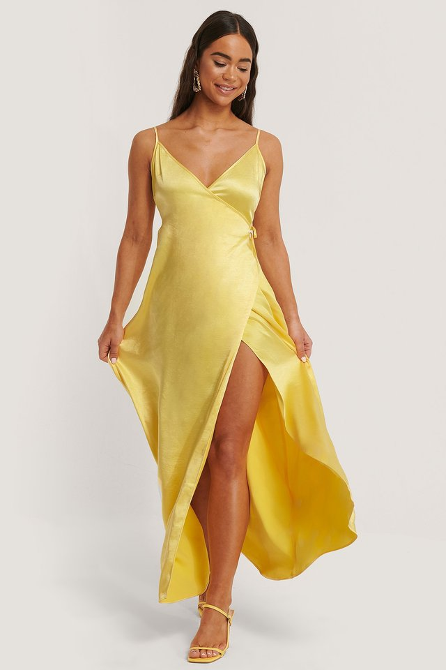 Thin Strap Satin Slit Dress Yellow