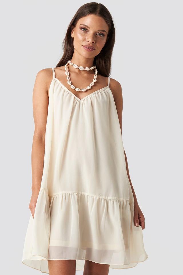 Thin Strap Short Dress Beige