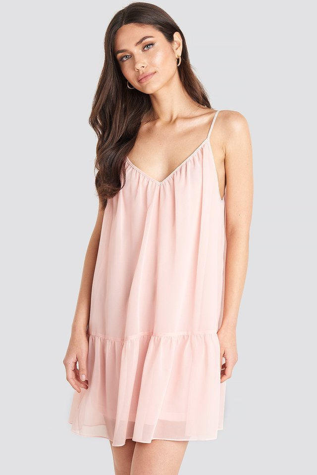 Thin Strap Short Dress Pink