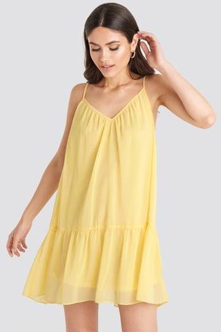 Light Yellow Thin Strap Short Dress